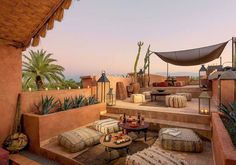 Hotel / events / spa / rooftop in Marrakech Related posts:Terrace decoration inspirationBrooklyn roof garden Julie Farris by Matthew WilliamsTo inspire your own modern rooftop deck transformation, here are 10 examples of . Rooftop Terrace Design, Rooftop Garden, Rooftop Lounge, Moroccan Design, Moroccan Decor, Moroccan Garden, Moroccan Style, Outdoor Lounge, Outdoor Living