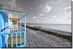 Beach Huts on Calshot beach Hampshire