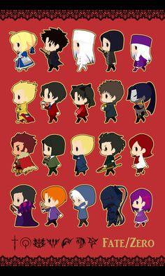 Fate/zero, Tohsaka Tokiomi, Irisviel von Einzbern, Gilgamesh, Lancer (Fate/zero), Saber (Fate/stay night)
