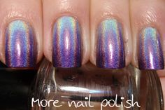 More Nail Polish: Purple holo gradient