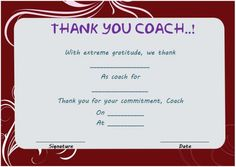 Thank you certificate for coach