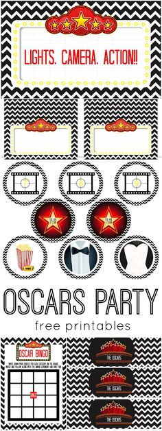 Black Chevron Oscars Party | Free Printables! www.weheartparties.com