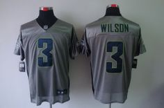Nike Seattle Seahawks #3 Russell Wilson Grey Shadow Elite NFL Jerseys