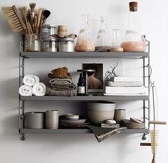 See more ideas about Shelves, Shelf inspiration and Interior. Modern Bathroom Decor, Grey Bathrooms, White Bathroom, Industrial Bathroom, Industrial Chic, Bathroom Interior, Home Interior, Interior Styling, Bathroom Inspiration