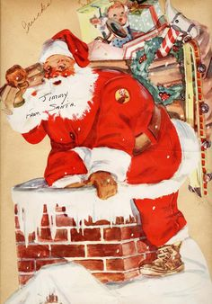 #Santa in the #chimney (from a 1940's scrapbook)