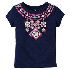 Baby Girl Carter's Cross-Stitch Graphic Tee, Size: