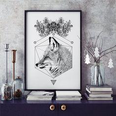 Fox by Wieprz Studio Design. #fox #animal #poster #illustration #home #interior #blackandwhite #livingroom
