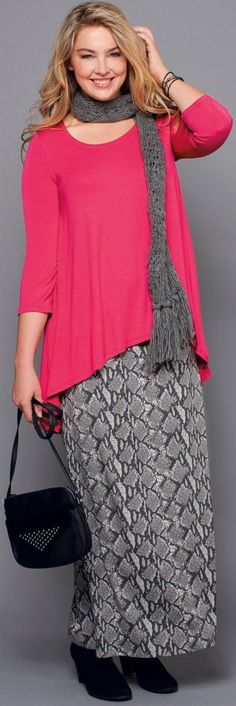 Cute casual fuchsia and gray outfit. Nice color combination. Bright pink sweater, gray snake print maxi skirt, and a gray scarf. Perfectomundo. http://www.boomerinas.com/2014/10/29/trendy-plus-size-clothing-stores-online-29-boutiques-designers-worldwide-with-us-delivery/