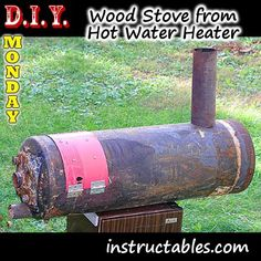 Turn an old water heater into a wood burning stove Wood Stove Water Heater, Diy Wood Stove, Water Heaters, Shop Heater, Wood Burning Heaters, Homemade Generator, Best Solar Panels, Solar Energy System, Solar Power