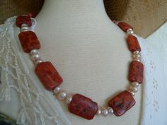 Unique, one of a kind, necklace - corals combined with fresh water pearls