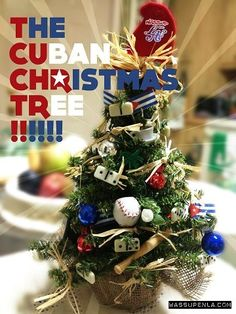 The ornaments on the tree represent the Cuban Culture.