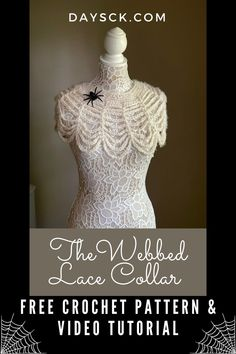 This beautiful lacy collar looks especially like a spider web and is perfect for Halloween or even an accessory for a Goth wedding! Works up quickly and uses little supplies. #halloweencrochet #gothwedding #spookycrochet #crochetspiderweb Crochet Shawl, Diy Crochet, Crochet Designs, Crochet Patterns, Halloween Crochet, Shawl Patterns, Lace Collar, Crochet For Beginners, Crochet Fashion