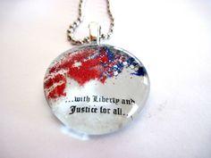 Art Pendant, Necklace, USA, Glass Cabochon, Liberty, Freedom, glass Gem, handmade pendant