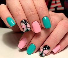 Check it out. Black Acrylic Nails, Summer Acrylic Nails, Toe Nail Designs, Nail Designs Spring, Spring Nail Art, Spring Nails, Stylish Nails, Trendy Nails, Manicure