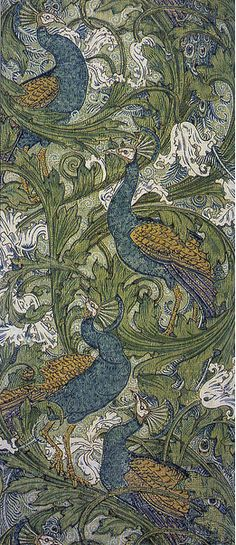 ¤ Peacock garden. (1889) Walter Crane was involved in the British Arts & Crafts movement. He created very successful wallpaper designs for Jeffrey and Company, a prominent wallpaper manufacturer at the time.