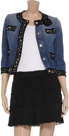 Love Moschino Embellished Stretch denim Jacket in Blue (denim) - Lyst