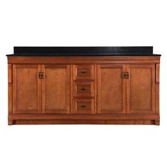 Home Decorators Collection Naples 72 in. W x 22 in. D Double Bath Vanity in Warm Cinnamon with Granite Vanity Top in Black - The Home Depot Granite Vanity Tops, Granite Tops, Black Granite, Home Depot, 72 Vanity, Double Bath, Bath Vanities, Sinks, Dovetail Drawers