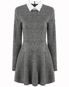 Grey Contrast Collar Long Sleeve Pleated Dress