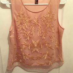 Embroidered Pink Tank This is so cute for work or internship. So classy and professional. Is too small for me now but never got to wear it. Forever 21 Tops Blouses