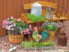 Bring a touch of country charm to your deck, porch or patio with a grouping of farm-related containers, such as bushel baskets, wooden crates and berry boxes. Feeders, waterers, buckets, feed scoops and other livestock-related items offer other planting possibilities.