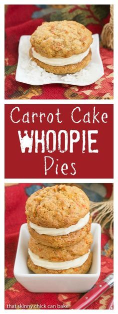 Carrot Cake Whoopie Pies are created by filling two soft carrot, coconut and pecan-laden cookies with a generous swirl of cream cheese icing! No Bake Desserts, Just Desserts, Delicious Desserts, Dessert Recipes, Delicious Cookies, Cupcakes, Cupcake Cakes, Poke Cakes, Layer Cakes