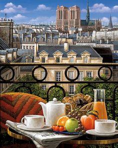 Artist Liudmila Kondakova (Russian: 1956) - Breakfast on the Balcony