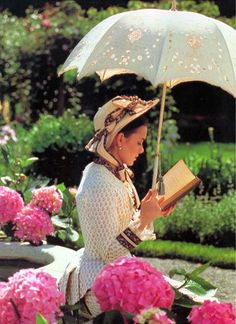 Reading amongst the hydrangeas...if only... (planning to adopt parosol freedom)