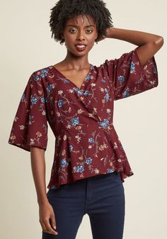 Surplice Wrap Top With Peplum | ModCloth