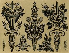Original works by Paul Dobleman. Ink & watercolor on paper Traditional Tattoo Painting, Traditional Dagger Tattoo, Traditional Tattoo Old School, Cute Tattoos, Tattoos For Guys, Desenhos Old School, Tatto Old, Old School Tattoo Designs, Traditional Tattoo Flash