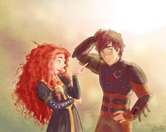 A Hiccup & Merida movie would be awesome! But only if Hiccup and Merida had a platonic relationship. Disney Pixar, Disney Amor, Disney And Dreamworks, Disney Love, Disney Magic, Disney Ships, Brave Disney, Merida Disney, Disney Couples