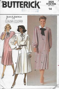 Butterick 3525 Women's Loose-Fitting 80s Dress Sewing Pattern Size 14 Bust 36 by Denisecraft on Etsy