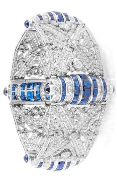 An Art Deco platinum, diamond and sapphire bracelet, circa 1930.