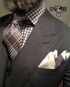 MTM grey herringbone 3piece suit by Scabal fitted by Lowet Tailors, grey gingham check shirt, tie and pocket square all Tom Ford