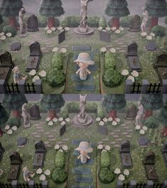 animal crossing new horizon As it turns out, the sculptures you can get from Redd make great additions to my graveyard! Animal Crossing Guide, Animal Crossing Qr Codes Clothes, Motif Art Deco, Blossom Garden, Motifs Animal, Animal Games, Island Design, Animal Sculptures, Paper Sculptures