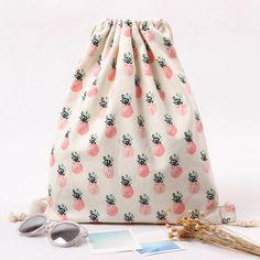 Handmade Cotton Canvas Travelling Drawstring Sorted Bag Shoe Bag Backpack Printed Pineapple B224