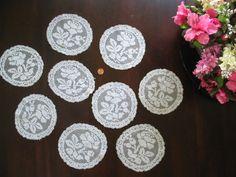 Vintage Lace Doilies Antique Set of 9 Cotton Filet Lace Rounds Rose Floral