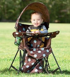 Go-With-Me Chair: can be used through toddler years. Removable snack/toy tray and sun shade.