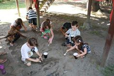 We did a coin dig.  We buried 80 coins in the sandbox.  The kids were given paper cups, and a plastic spoon ONLY.  They were not allowed to use their hands.