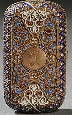 Cigarette Case; Enamel & Silver, Russian, Geometric Patterns, Engraved Medallion, 4 inch. Year: 1870 - 1880