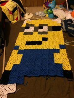 Minion crochet blanket  #granny_squares