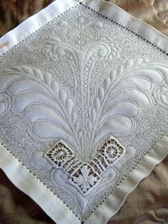 """""""Linen Ladies' work at the McCloud retreat."""" machine quilted hankie"""