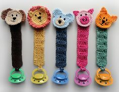 Ravelry: Pacifier Holder with Animals pattern by Rachel Choi, cute idea!!!  for the new baby!