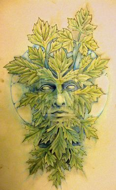 Green man and moon by knotty-inks.deviantart.com on @deviantART