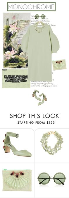"""""""Untitled #1031"""" by tamara-40 ❤ liked on Polyvore featuring Dolce&Gabbana, Kenneth Jay Lane, Mawi, The Row, monochrome and dress"""