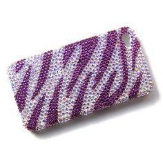 Amethyst Pink Zebra Stripes Gem iPhone 4S 4 Case Cover Swarovski Crystal Element