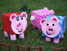 This Piggy Bank Kid Kit has to be one of my favorite craft kits. It's cute and functional. Kleenex Box Crafts, Tissue Box Crafts, Valentine Day Boxes, Valentines Day Party, Valentine Crafts, Kids Crafts, Farm Crafts, Pinterest Crafts For Kids, Piggy Bank Craft