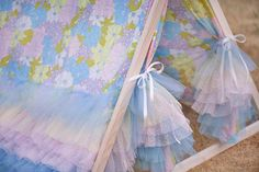 Kids A-Frame Teepee Play Tent Cover with Rainbow Pastel Tulle Ruffles
