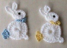 Bunny Rabbit Applique, Crochet Bunny Rabbit Applique, Crochet Bunny Rabbit Applique, Teddy Bear Appliqué pattern by Kerri Brown To the Left DUCK Crochet Applique Holiday Crochet, Easter Crochet, Crochet Crafts, Yarn Crafts, Appliques Au Crochet, Crochet Motif, Crochet Designs, Crochet Afgans, Crochet Poncho