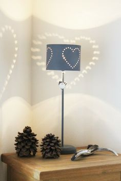 Heart lamp with cut out hearts