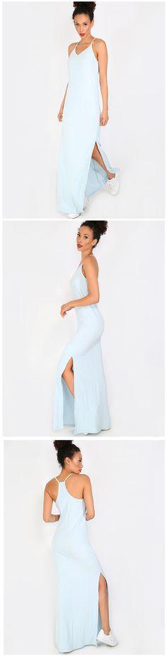 Light Blue Spaghetti Strap Split Maxi Dress